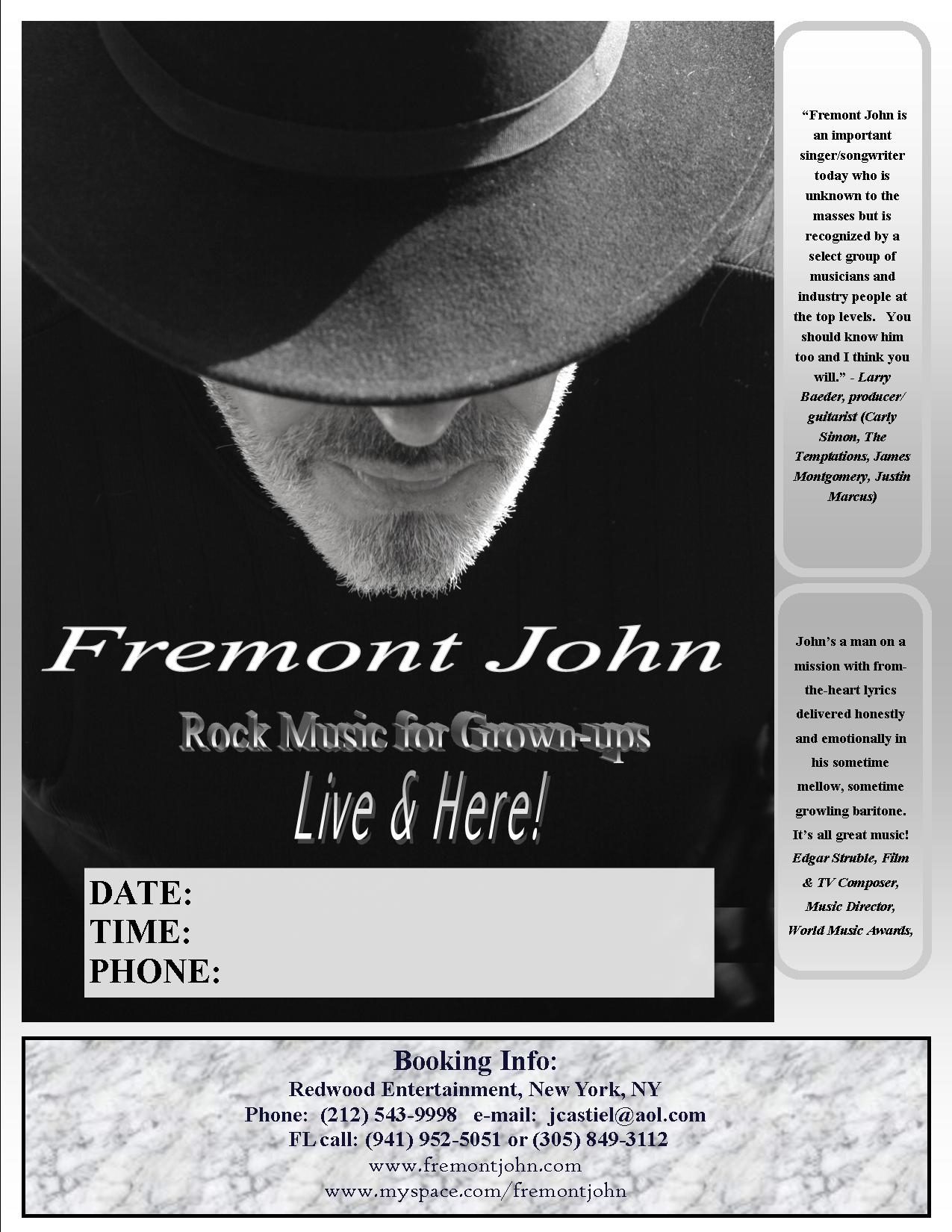 The Village Cafe of Pentwater Presents Fremont John ...